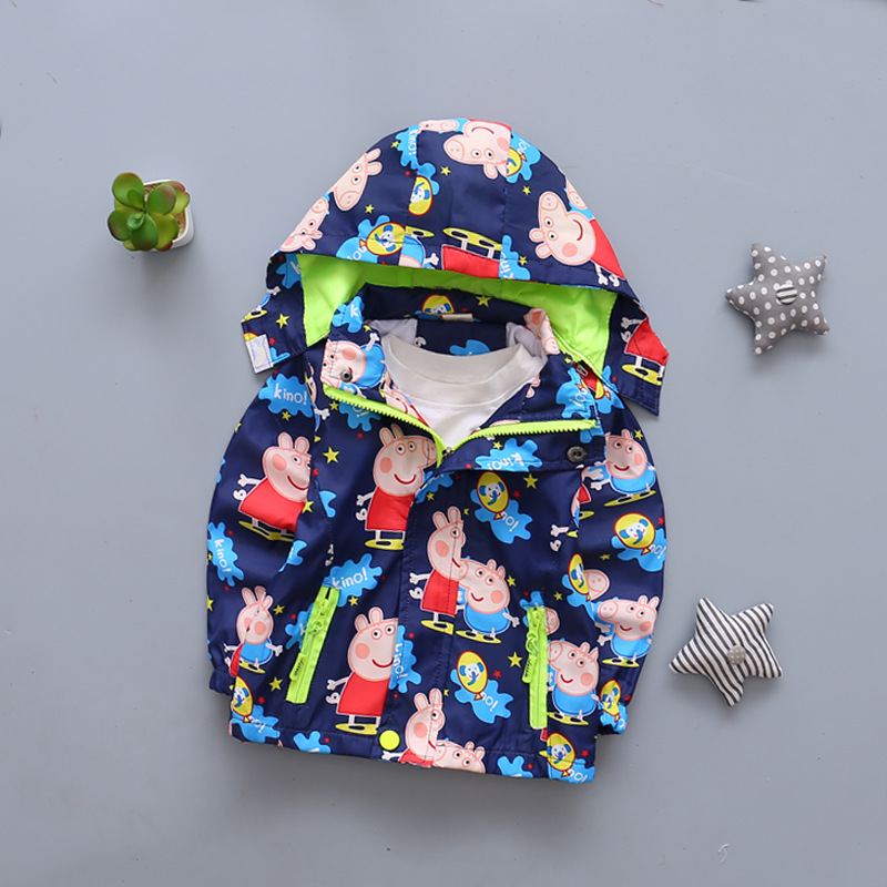 Spring children's clothes boy girl pink pig Hooded jackets windbreaker kids clothes trench coat girl costume long sleeve hooded