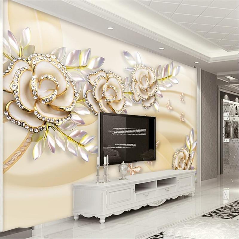 beibehang Custom 3d wallpaper high-grade European gold rose leaves 3d murals living room sofa bedroom study TV backdrop wall