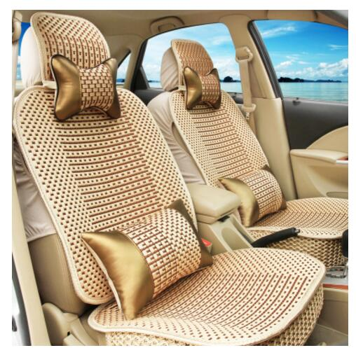 Luxury Car Seat Cushion Hand-woven Ice Silk with Wood Beads Car Seat Cover Summer Front&Rear 5 Seat Universal Car Seat Cushion lk 33 ice silk mesh massage cushion pad for car seat black