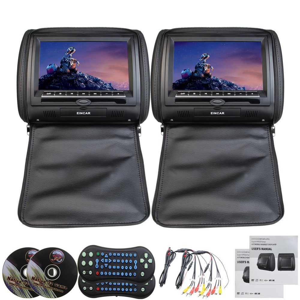 Car Headrest 2 Pieces monitor CD DVD Player Autoradio Black 9 inch Digital Screen zipper Car Monitor USB SD FM TV Game IR Remote 2pcs lot digital tft screen zipper car pillow headrest cd dvd player monitor usb fm 32 bit game disc remote with 2xir headsets