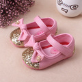 Hot sale kids shoes girls shoes cute bow tie princess pu leather shoes fashion bling girls dress shoes children