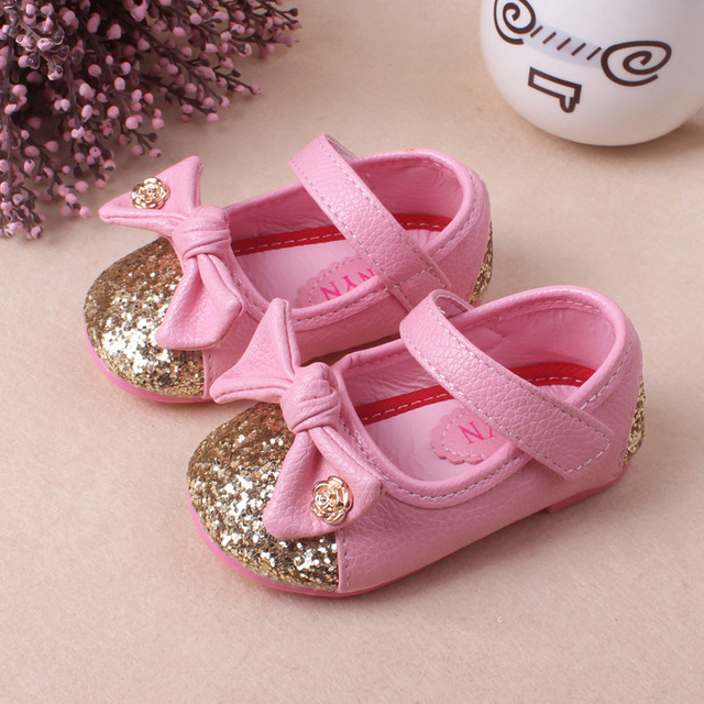 Hot sale kids shoes girls shoes cute bow tie princess pu leather shoes fashion bling girls dress shoes children