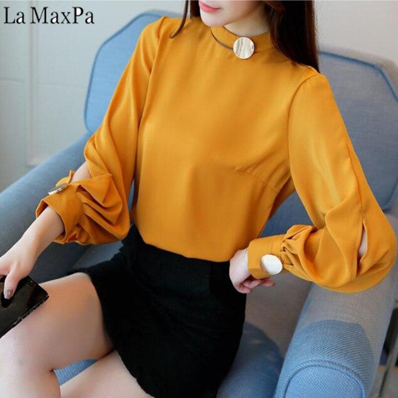 LA MAXPA 2018 Autumn Long Lantern Sleeve Stand Collar Big Button Chiffon   Blouses   Women Casual Loose Party   Blouses     Shirts   Tops