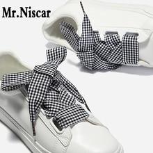 Mr.Niscar 1Pair Wide 2.5cm Colored Plaid Shoelaces for Women Shoes Polyester Flat Shoelace British Style Satin Ribbon Shoe Laces цена