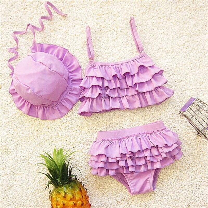 Kids Swimwear Girls Two Pieces Child Swimsuit With Swim Cap Ruffle Mermaid Tail For Children Bikini Baby Girl Swim Suits 2-9 Age