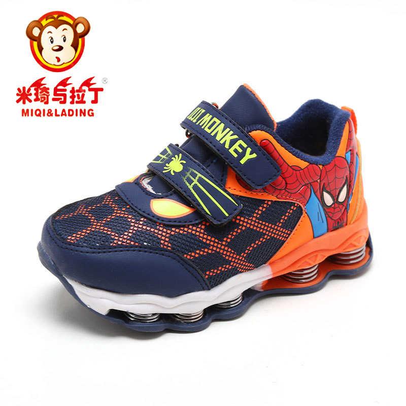 5a490a67e158 MIQI и накладные Осень Новый Человек-паук детские кроссовки весна  демпфирования детей Повседневное спортивная обувь