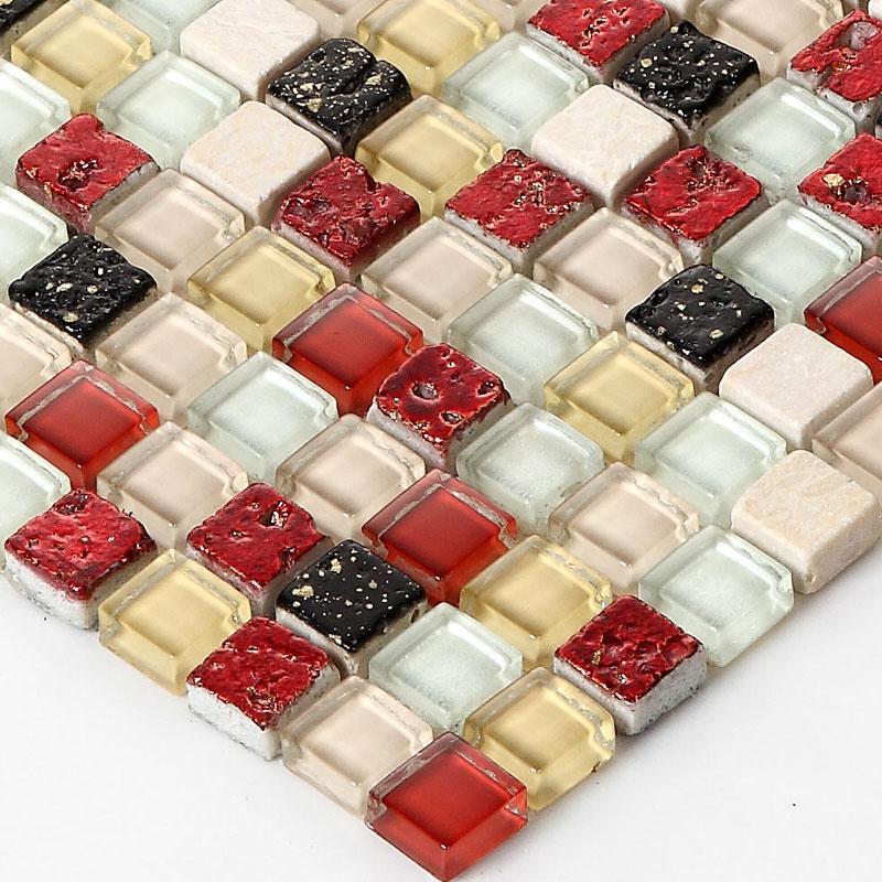 Cristal rojo mezclado mosaico de piedra HMGM2003 para cocina ...