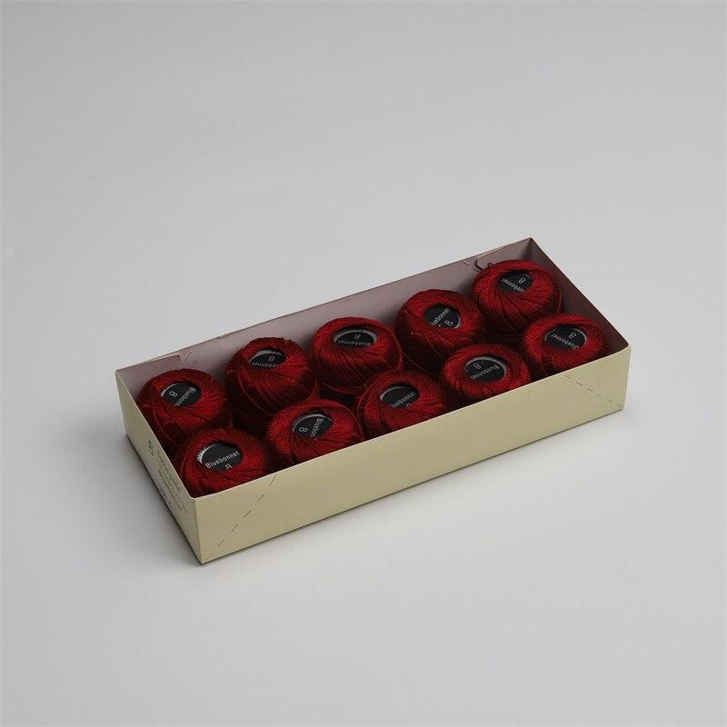 Размер 8 жемчужная хлопковая нить для вышивки крестиком 43 ярдов(5 грамм) на шарик Двойной Мерсеризованный длинный штапельный хлопок 10 шариков в цвет - Цвет: 395