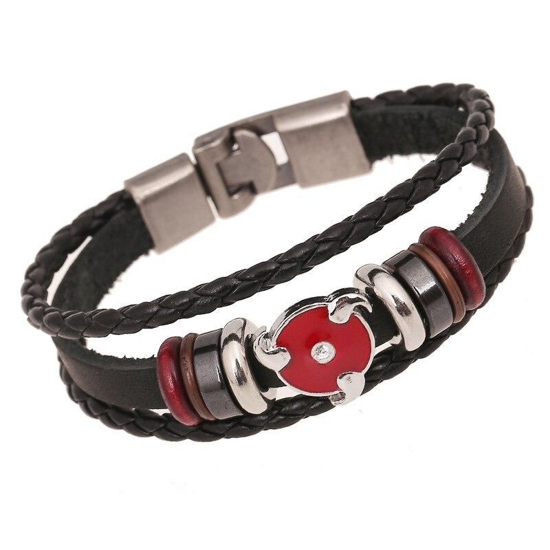 Genuine Leather Naruto Bracelets for Women Alloy Buckles Bracelet Men Braclets Male Pulseira Charm Jewelry Gift for Boys