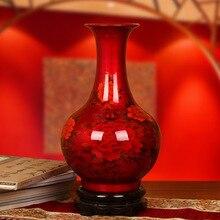 Jingdezhen ceramics glaze vase with high-grade crystal red decoration of modern living room crafts Home Furnishi