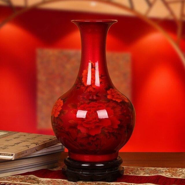 Jingdezhen Ceramics Glaze Vase With High Grade Crystal Red Vase