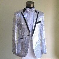 חליפות גברים שחור, לבן, ביצועי צבע רבים נצנצים זהב גברים של חליפות חתונה חליפות גברים אמן חתן