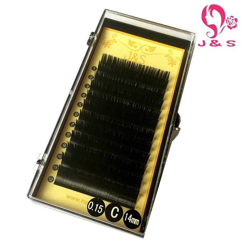 J & S 10trays/lot 0.15/0.20mm BCD curl 15mm 16mm Super Silk Korea False Mink Flat Elliptical Eyelash Extensions, top split mink keer пурпурный s