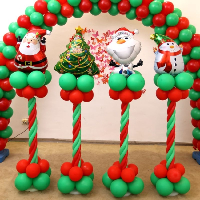 christmas decorations balloon columns red green balloon arches christmas tree scene layout full set
