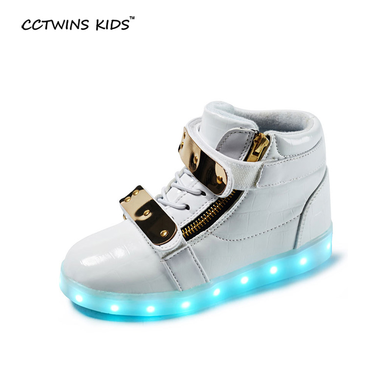 CCTWINS KIDS autumn boys led light sneakers children pu leather shoes baby girls fashion high top sneakers kids sport sneakers 2017new children led light shoes with one two wheels kids pu leather high help roller skate shoes boys girls sneakers shoes