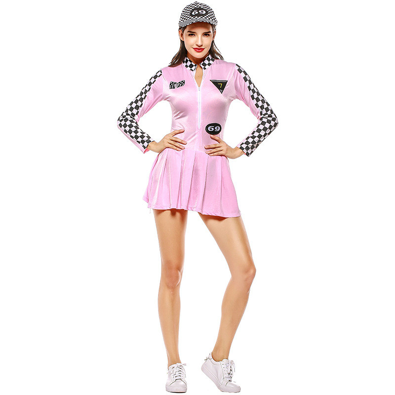 Woman Sexy Uniforms Race Car Driver Suit 2pcs Set Long Sleeves Mini Dresses With Baseball Cap Race Car Costumes Uniforms