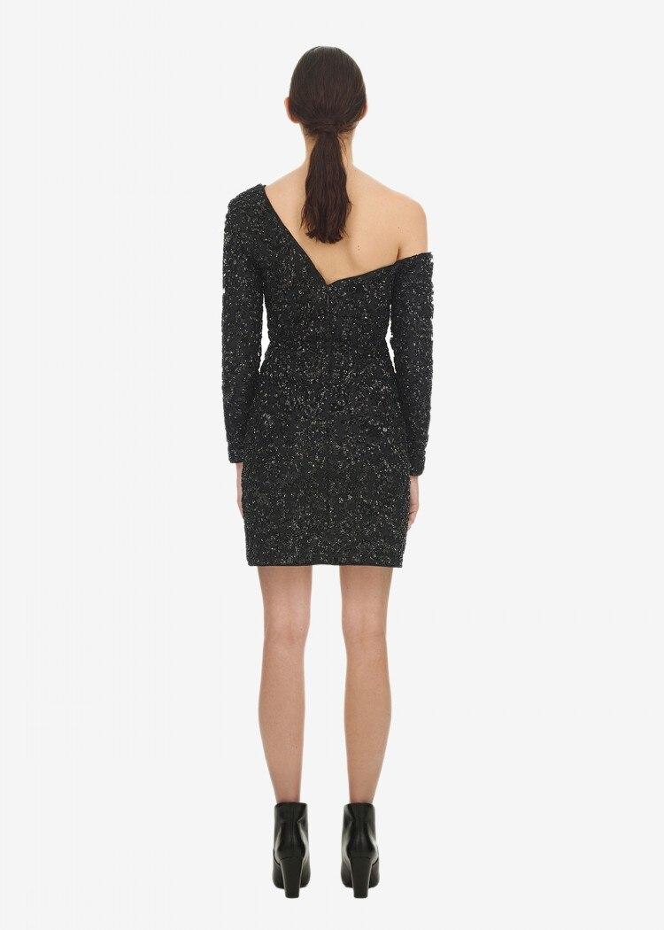 Robes Portrait Gaine Élégant Parti Épaule noir De Longues Une Sexy Auto Robe Manchettes Femmes Beige Manches 41wRf4