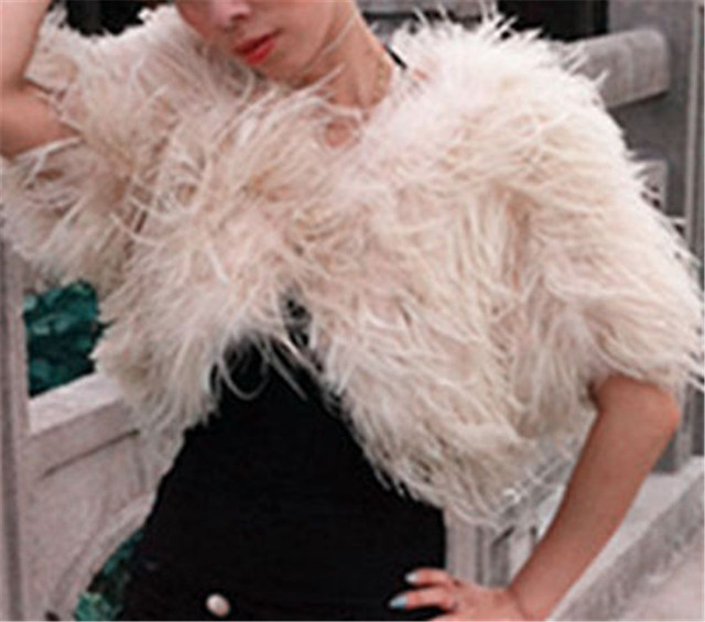 Luxurious Ostrich Feather Bridal Fur Shawl Marriage Shrug Coat Bride Winter Wedding Party Boleros Feather Wedding Cape