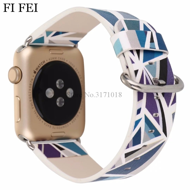 FI FEI Watch Band Bracelet For Apple Watch 38mm 42mm Series 1 2 3 Geometric Prints Colorful PU Leather Bracelet Wristband 38&42 alloy faux leather geometric bracelet