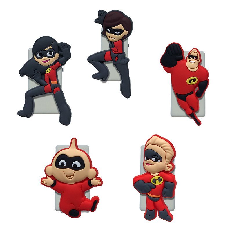 5PCS Pvc Cartoon Paper Clips The Incredibles Bookends Office & School Accessories Conductive To Collect Bind Classify
