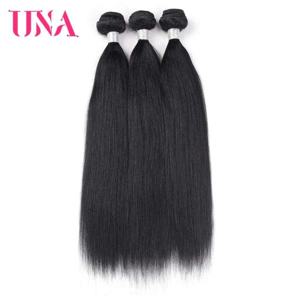 UNA 휴먼 헤어 위브 3 묶음 스트레이트 헤어 위브 - 인간의 머리카락 (검은 색)