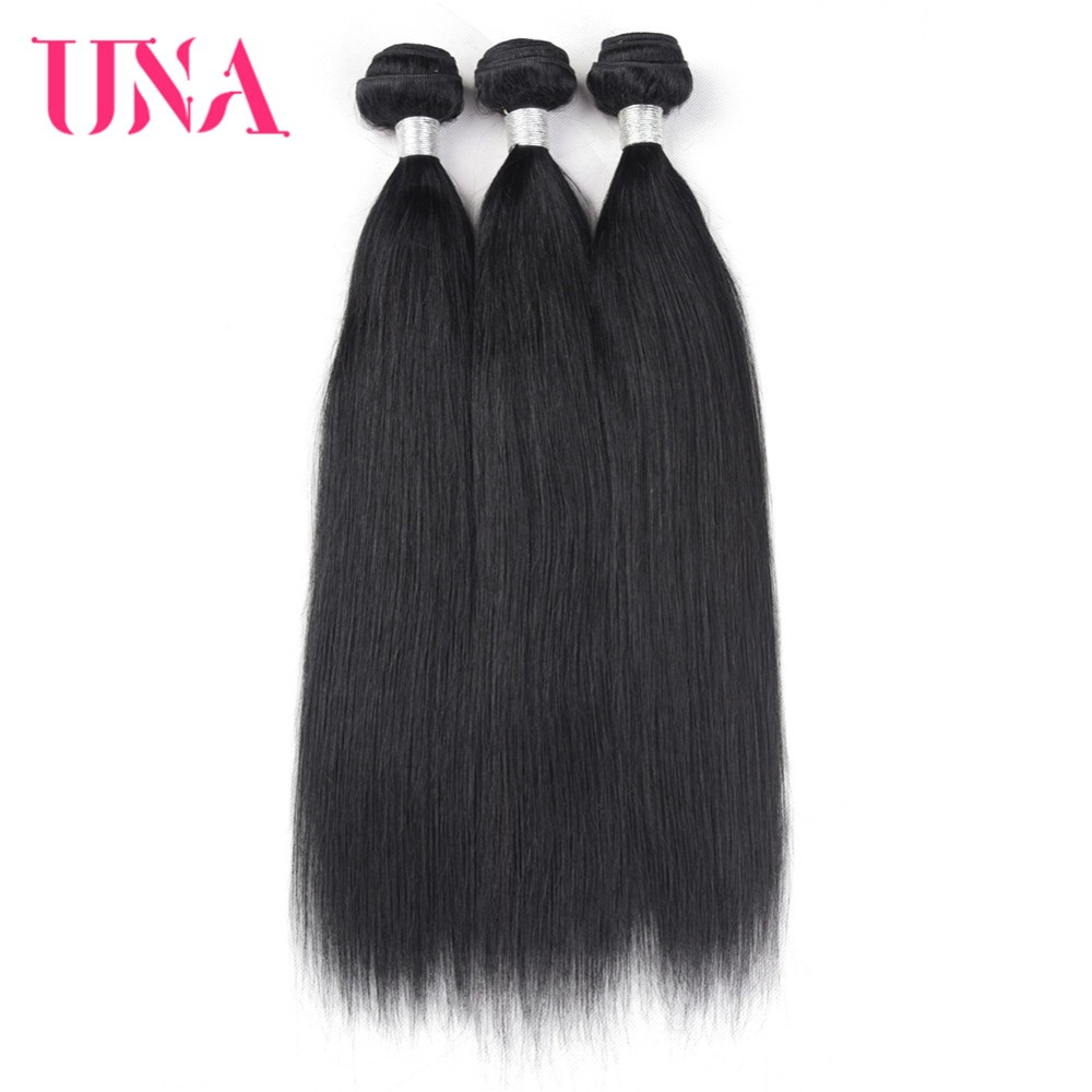 UNA İnsan Saç Dokuma 3 Paketler Anlaşma Düz Saç Örgü - İnsan Saçı (Siyah)