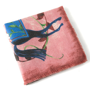 Image 4 - POBING Luxury Brand Winter Scarf Cashmere Square Scarves Spain Horse Rose Flower Print NecKerchief Women Shawls Wrap Hijab 130CM