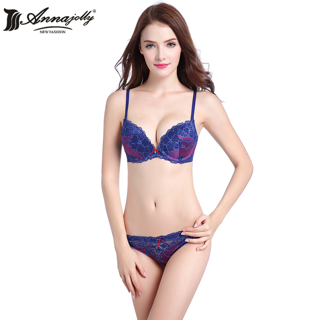 Annajolly Women Bra Sets Sexy Push Up Adjustable Top Lace Embrodiey Bras And Panties Briefs Blue White Lingerie Underwear U8569