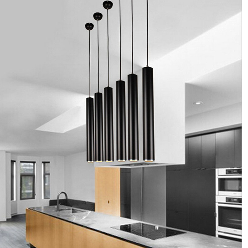 Modern Pendant Lights Kitchen Lighting Fixture Black Aluminum Lamp Shades LED Source For Dining Room Bedroom