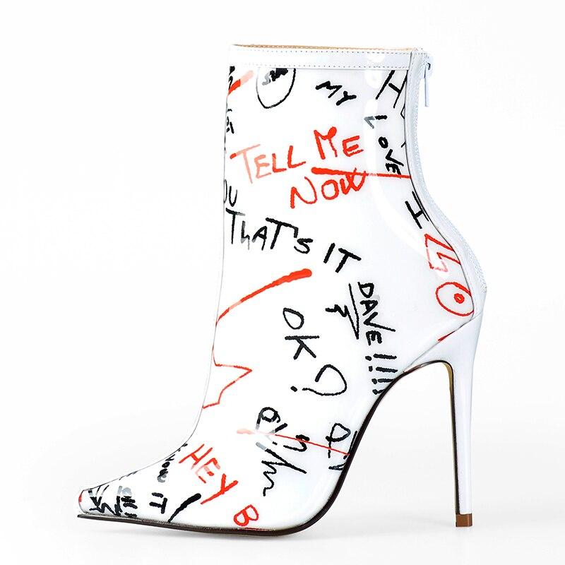 Różowy Palms botki dla kobiet wiosna jesień wysokie obcasy pleksi wodoodporne buty jasne pcv białe Graffiti kobiety kostki buty w Buty do kostki od Buty na  Grupa 2