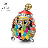 AIQICARAT Fashion Charms 925 Sterling Silver Owl Fit Original Beads Bracelet Collection Bead Making DIY Jewelry