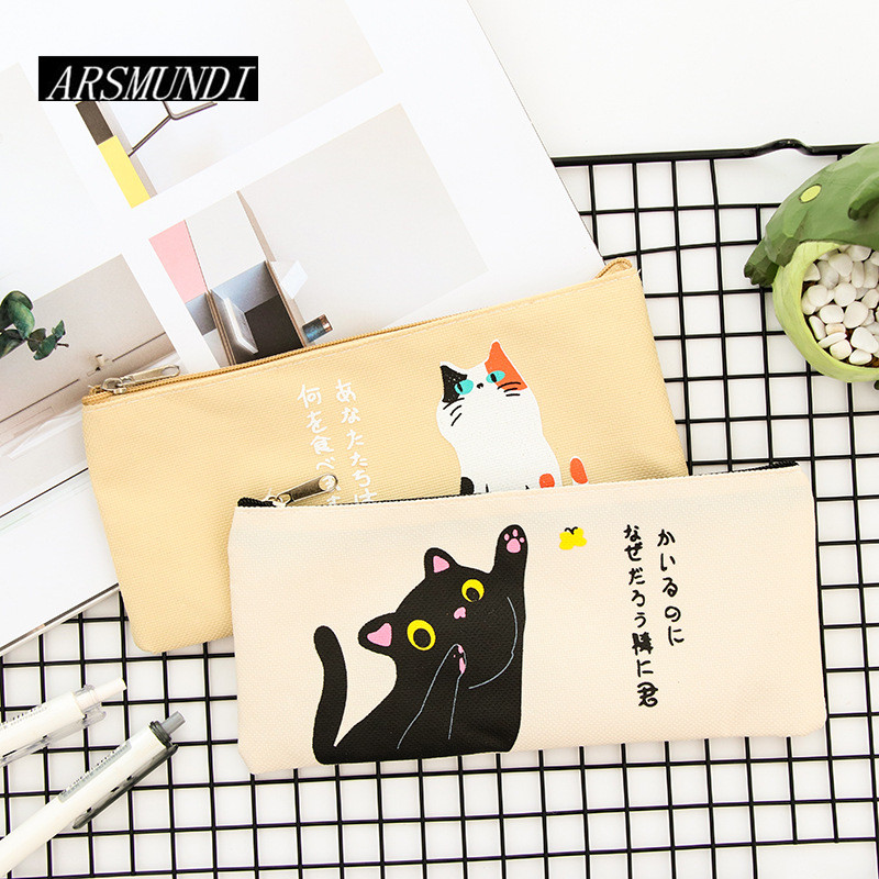 Cartoon Cat Pencil Case For Girls Canvas School Supplies Stationery School Pencil Box Cute Pencilcase Pencil Bag Pen Case new leather pencil case bag for school boys girls vintage pencil case box stationery products supplies as gift for student