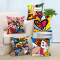 Wholesale Modern Stylish Romero Britto Style Square Zippered Throw Pillowcase Soft Comfort Pillow Cover Twin Side Luxury Printed
