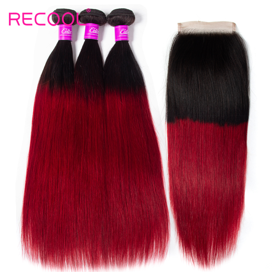 Recool Ombre Human Hair Bundles With Closure Brazilian Straight Hair 1B Burgundy Red 3 Bundles With