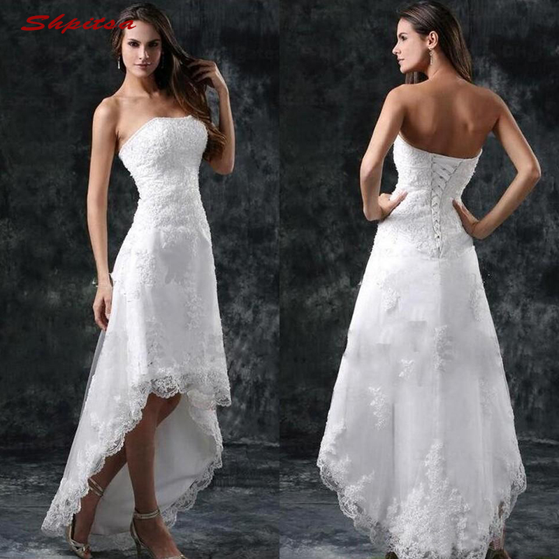Lace Beach Wedding Dresses Tulle Plus Size Strapless