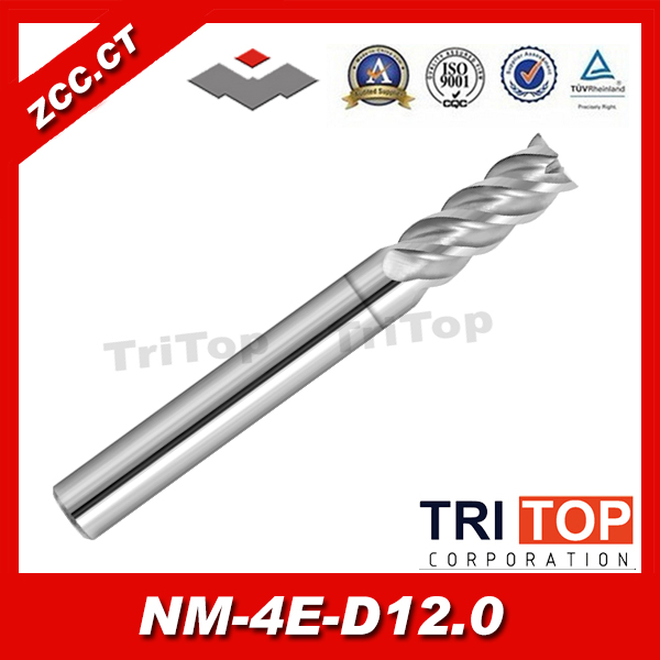 ZCC.CT NM-4E-D12.0 solid Carbide 4 flute flattened end mills with straight shank 12.0mm Tool diameter zcc cthm hmx 4efp d8 0 solid carbide 4 flute flattened end mills with straight shank long neck and short cutting edge