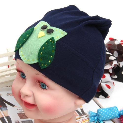 New hot Retail+ 6 colors new design spring baby cotton hat sun hat owl and flower design Free shipping