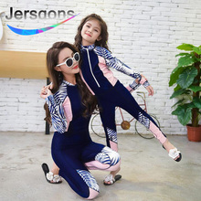 Jersqons 2019 Women Swimwear Print Sport Swimming Suit Full Body Covered Surfing Suit Long Sleeves Long Pants Sunscreen Clothes