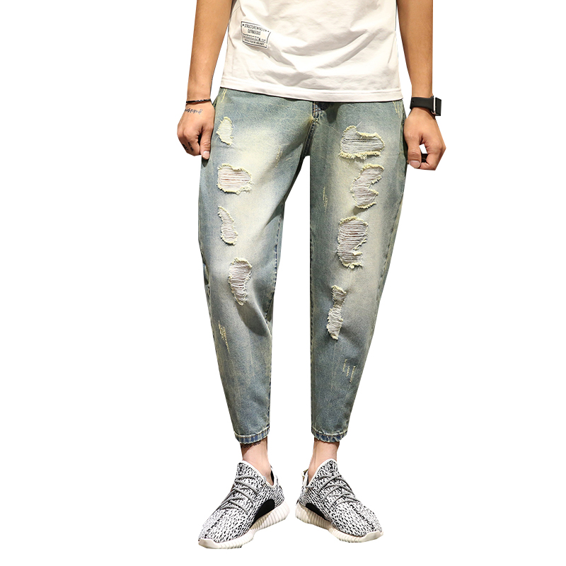 Brand-clothing Pants Destroyed Men Slim Denim Straight Biker Loose Jeans with Holes Men Ripped Jeans In Men's Jeans N-ZK074