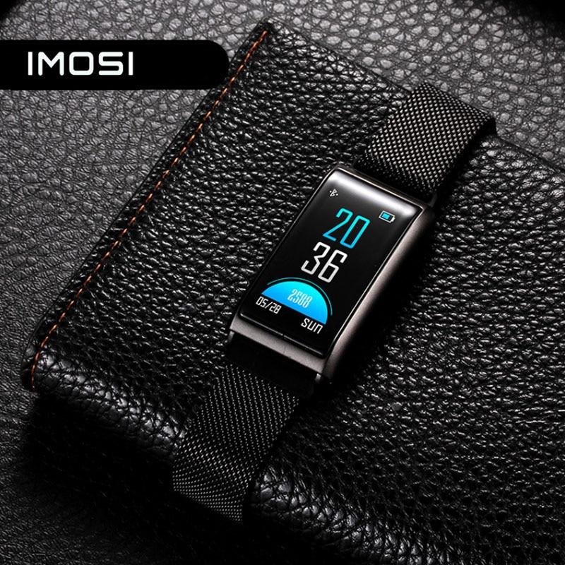 Imosir R02 pulsera inteligente impermeable medida de la presión arterial Monitor de ritmo cardíaco Wristband TFT Color pulsera