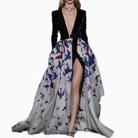 HIGH Quality New 2017 Designer Runway Maxi Dress Women S Long Sleeve V Neck Bird Printed