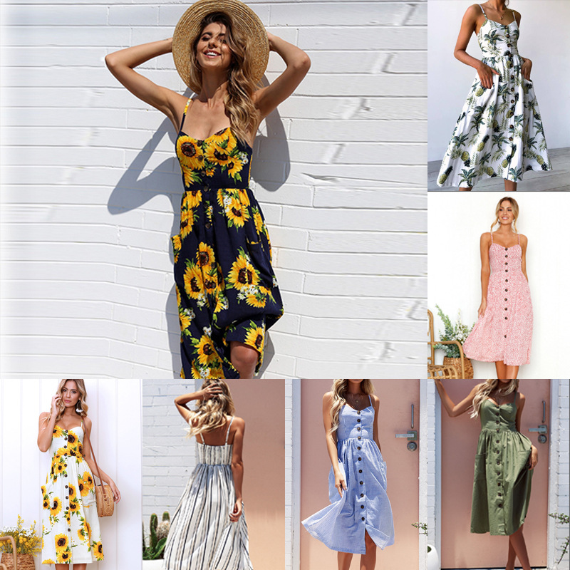 Women Summer Bohemian Party <font><b>Dress</b></font> Floral Pineapple <font><b>Sunflower</b></font> Tunic Beach <font><b>Dress</b></font> Striped Pocket Pink <font><b>Yellow</b></font> White Girls <font><b>Dress</b></font> 1261 image
