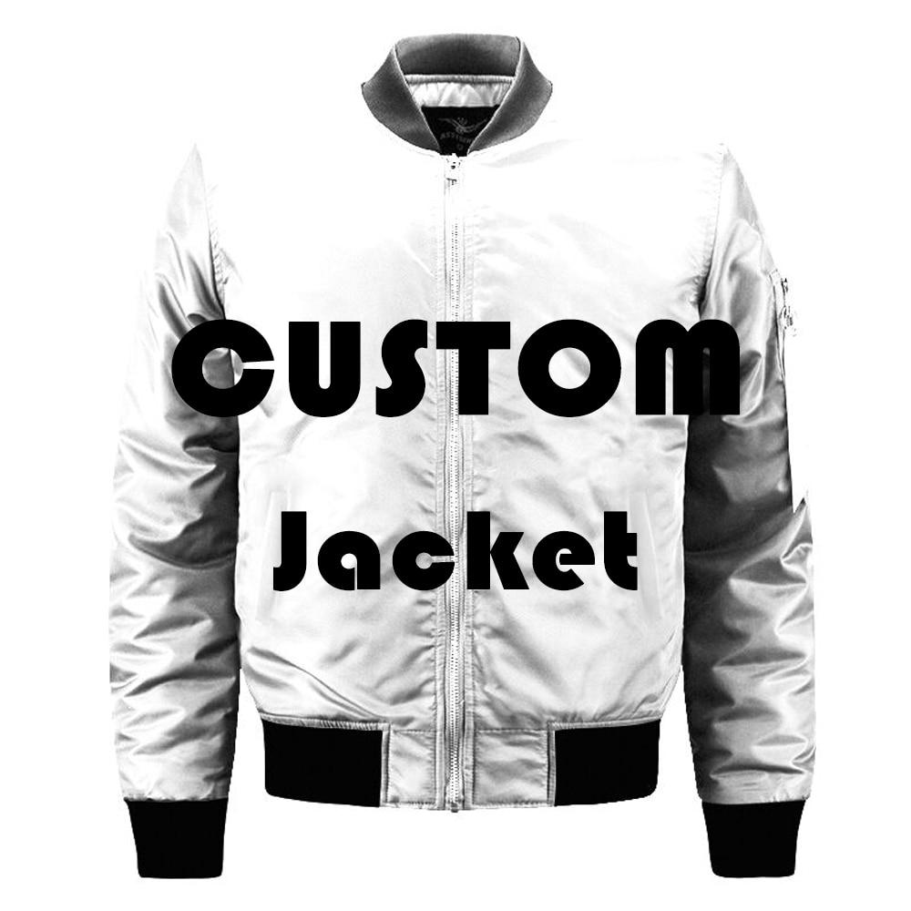 27fa37ca980 Drop shipping USA SIZE Custom made Logo Bomber Jacket For Men DIY Design  Full printed Coats Winter Thicken Clothes 2018 New