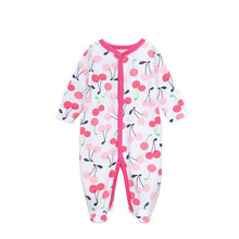 Cotton Baby Girl's Jumpsuit with Long Sleeves, 3 Pcs Set