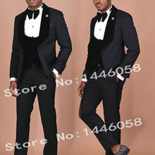 ef4bd4ddc15 Wedding Men Suits 2019 Designs Gentleman Velvet Lapel Slim Fit Black Gold 3  Pieces