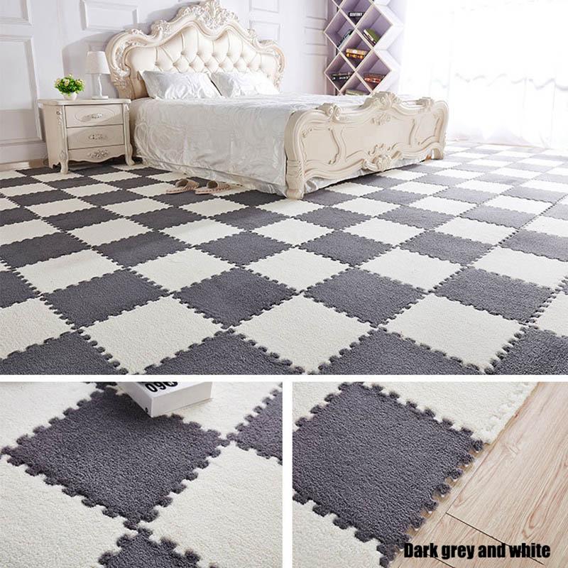 HTB1CI4AKuuSBuNjSsplq6ze8pXal 10Pcs/1Set 30*30*1cm EVA Plush Puzzle play mats Foam Shaggy Velvet Carpet Decorative Kids Room for Crawling Play Toys 9-Colors