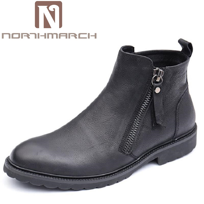 NORTHMARCH Genuine Leather Men Winter Boots Comfortable Ankle Chelsea Boots Luxury Men Winter Shoes Zapatillas Hombre Casual new fashion men luxury brand casual shoes men non slip breathable genuine leather casual shoes ankle boots zapatos hombre 3s88