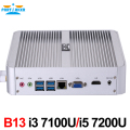 Partaker B13 Business Mini PC with 7th Gen Kaby Lake Core i3 7100U i5 7200U Windows 10 Barebone Fanless Mini PC 4K HTPC Computer