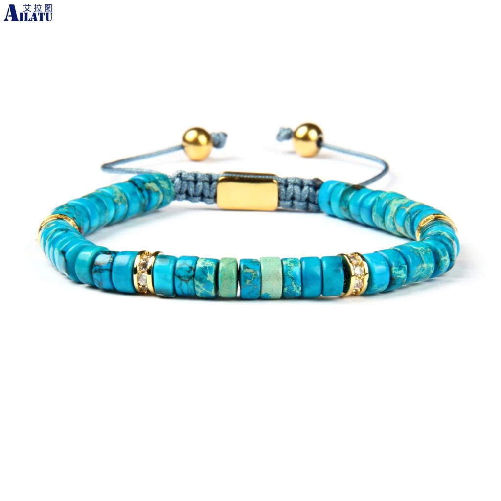 Ailatu Women s Flatbead Bracelet with Natural Sea Sediment Stone Beads Clear Cz Spacer Beads Jewelry