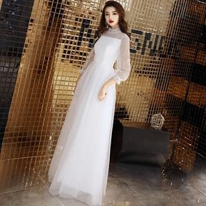 Image 4 - Seksi beyaz tül uzun abiye Vintage Polka Dot uzun kollu See Through akşam partisi törenlerinde zarif resmi kıyafeti yeni Arriva